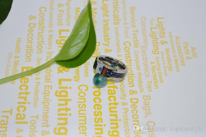 Anillo de joyería de moda de 8 mm Anillo de carburo de tungsteno Anillo de fibra de carbono azul y negro con CZ para hombres y mujeres TUR-007