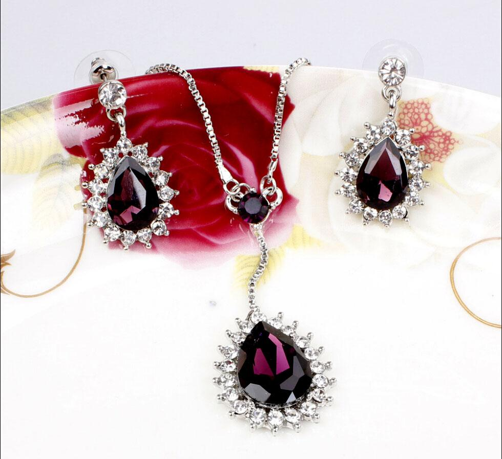 New Fashion Simple Wated Drop Design Austrian Crystal 18K Silver Plated Necklace Earrings Jewelry Set For Women Wedding Set