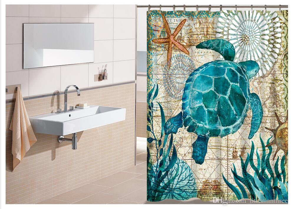 2018 Miracille Sea Turtle Waterproof Shower Curtain Octopus Home Bathroom Curtains With 12 Hooks Polyester Fabric Bath From Littemanthree