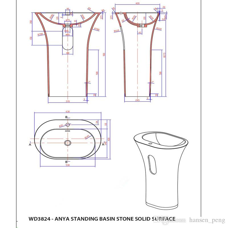 CUPC-Zertifikat Freistehende Mineralwerksteinwaschbecken Garderobe Runder Standbehälter Waschbecken RS3824