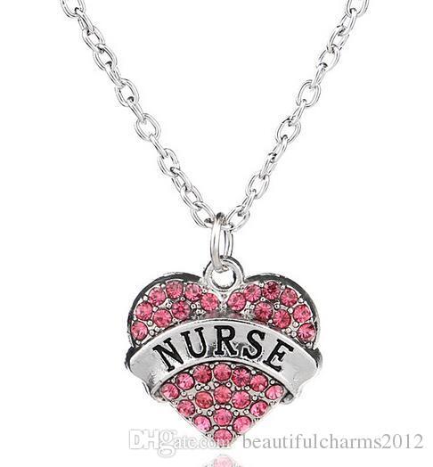 Nuovo 5 pz / lotto rosa strass ciondolo cuore collana con mamma fede infermiera insegnante sorella credi ecc. Parole lettere fit regalo di famiglia