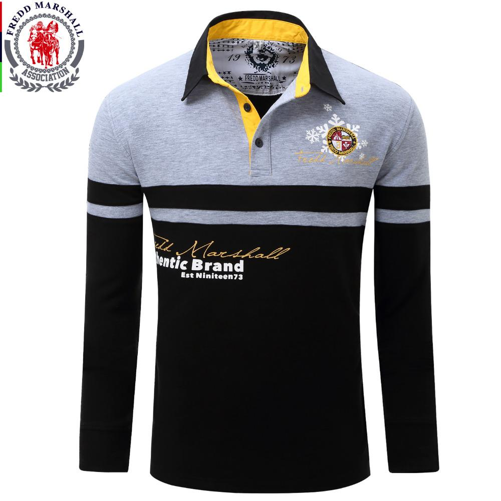 Discount Poloshirts European Size New Brand Mens Solid Long Sleeve