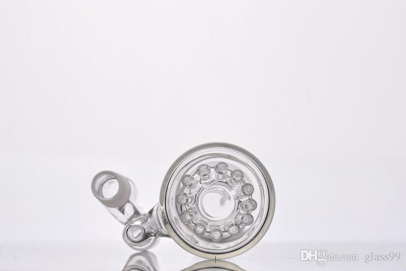 real image Glass Single Fritted Ash catcher with 12 arm arm tree inline perc 18 mm joints right angle for glass bongs
