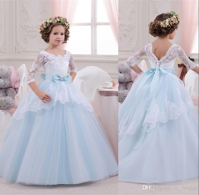 6de75a7038c6b 2016 New Design Ball Gown Little Flower Girl Dresses With Half Sleeve  Princess Pageant Dress Lace Appliques Beading Bow Gril s pageant gowns