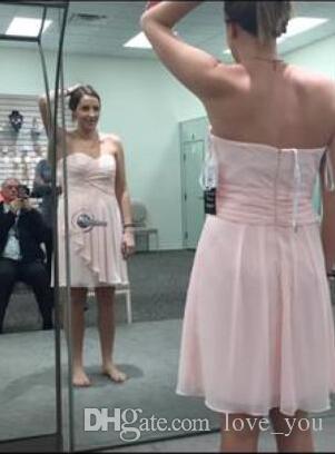 Custom Made Vestidos de Dama de Honra Chiffon Querida Curto Crinkle Chiffon Vestido com Cascata Frente Popular Ruffles Wedding Guest Dress