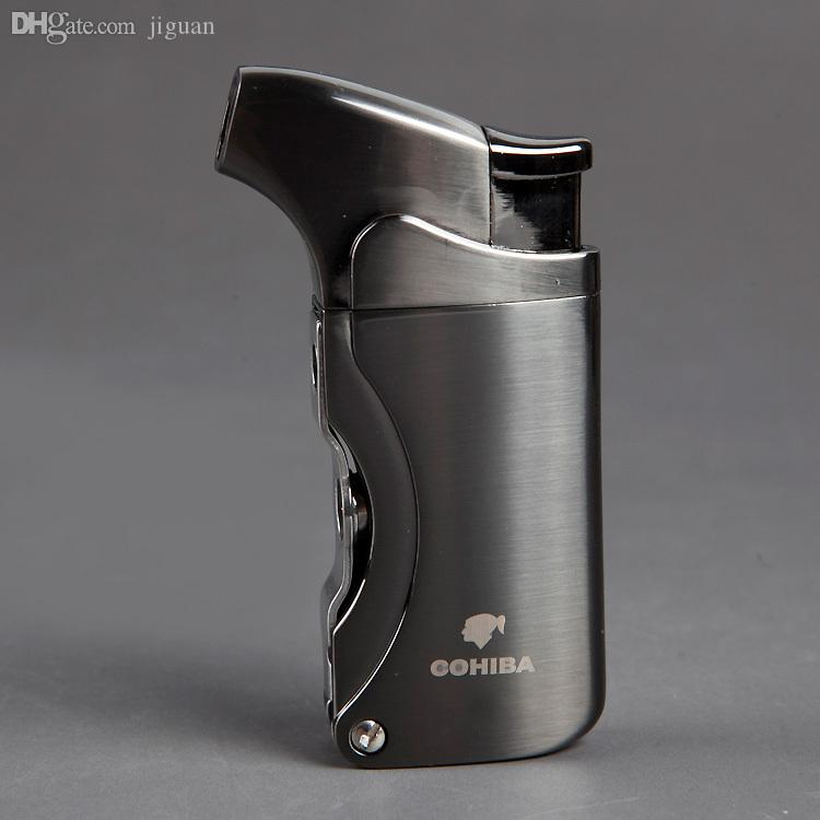 2018 Wholesale COHIBA Cuban Turbo Butane LighterWindproof Jet Torch Black Gas Lighter For Cigarette Inflatable Drill Mouth From Jiguan 233