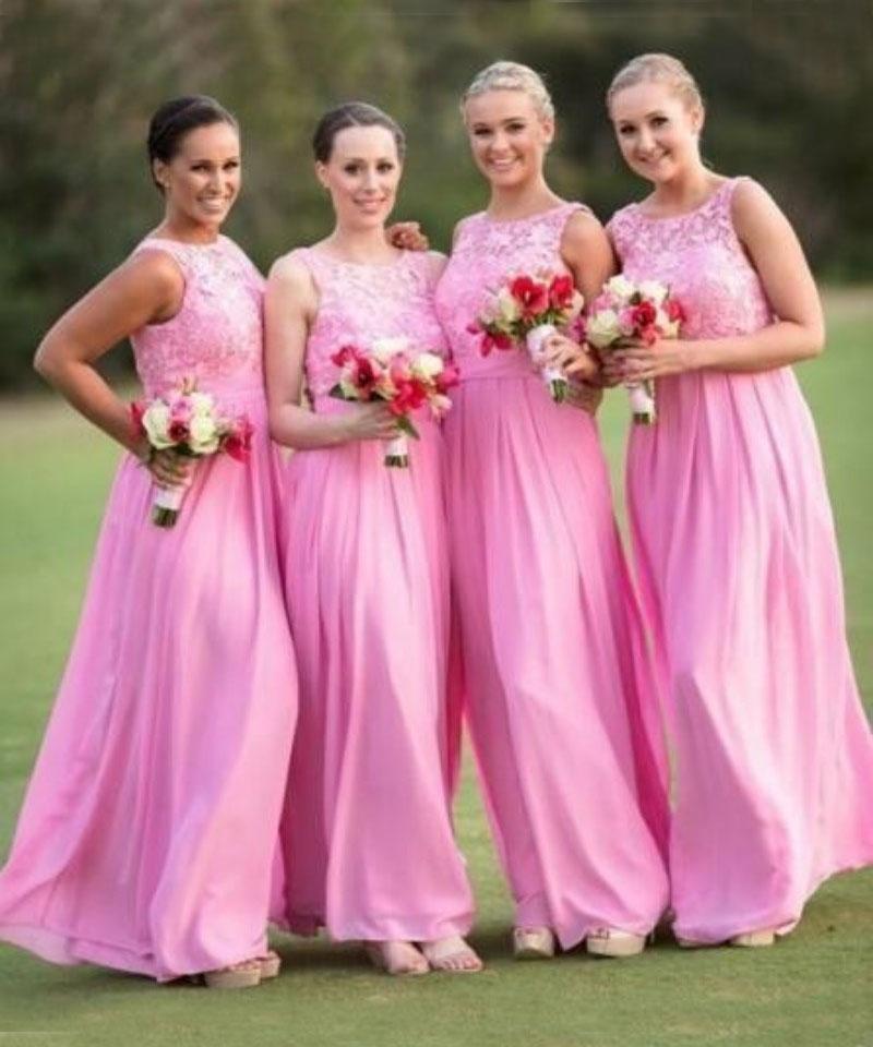 Simple Cheap Pink Bridesmaid Dress Jewel Lace Chiffon