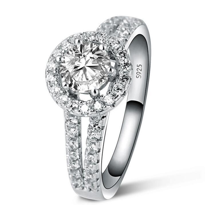 1 قيراط محاكاة خاتم الماس للنساء فاخرة 925 الفضة الاسترليني عصابة ، خاتم الخطوبة للنساء ، هدية الزفاف لفتاة