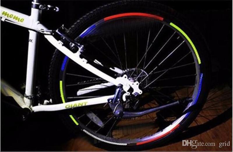 Heißer Verkauf Reflektierende Aufkleber Fahrrad Coole Diy Fahrradfelgen Aufkleber Motorrad Felgen Reflektierende Aufkleber Fahrradzubehör 8 Farben