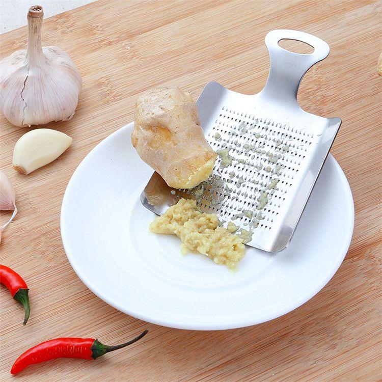 Ajudantes de cozinha em aço inoxidável 18/0 raladores de gengibre alho, forma de pá de restaurante doméstico Grades de queijo de aço inoxidável