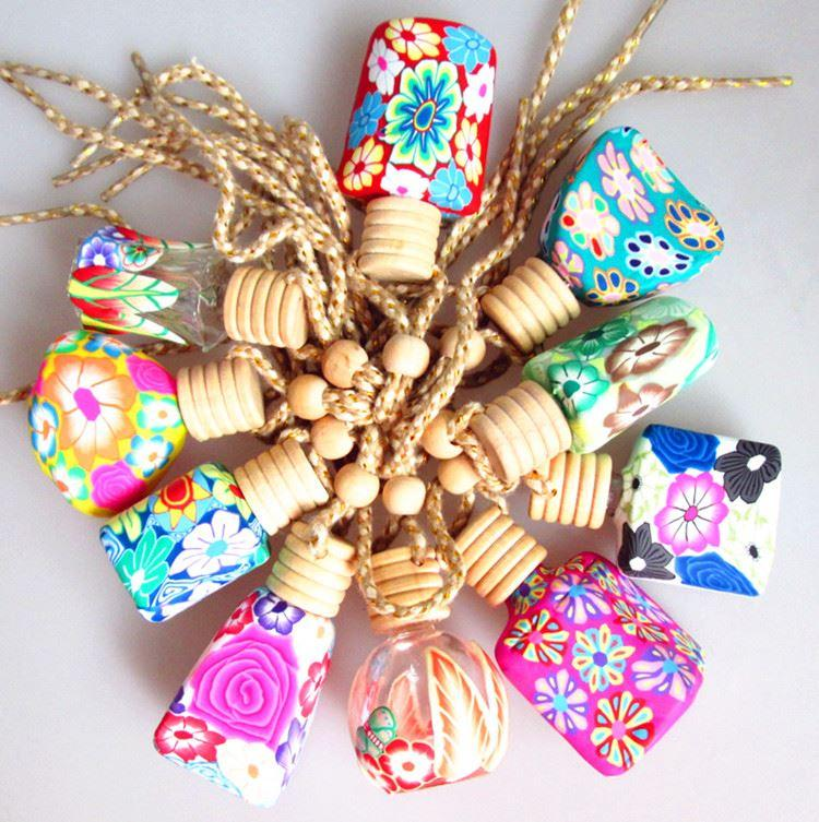 Mix Design Craft Car Perfume Bottle Hanging Cute Air Freshener Carrier Home Fragrance Polymer Clay Bottle 100pcs Lot
