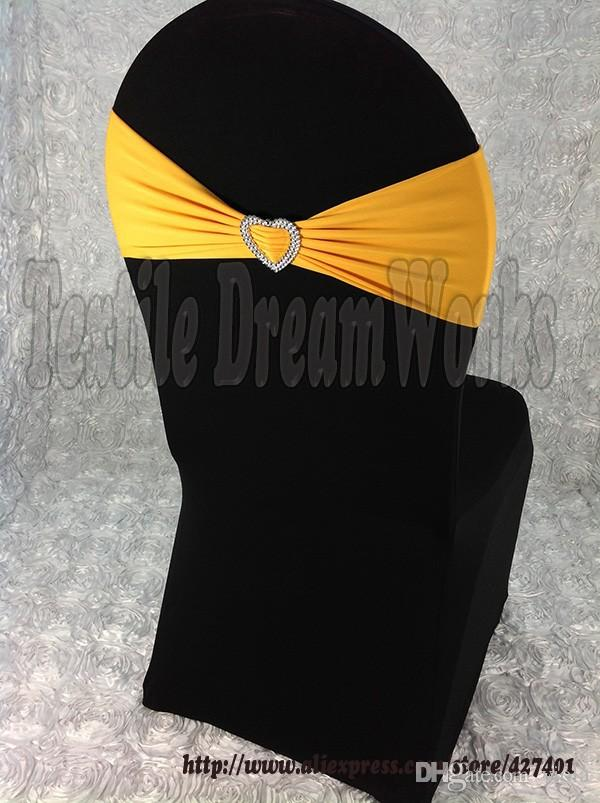 Hot Sale Gold Spandex Bands / Lycra Band /Chair Covers Sash With Heart Shape Buckle For Wedding & Banquet
