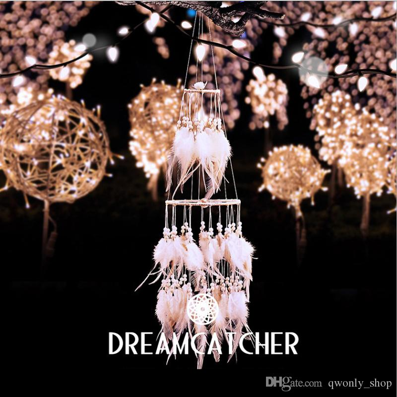 White Polycyclic Dreamcatcher Wind Chimes Feather Pendant Dream Catcher Creative Home Wall Hanging Wedding Party Decoration Craft Gift