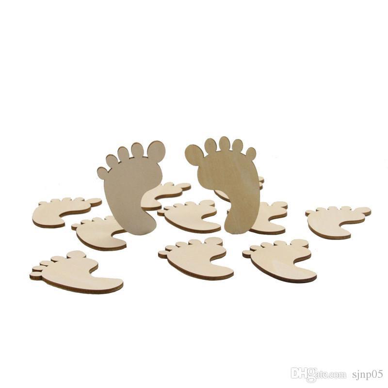 Wood Art Crafts Laser Cut Wooden Favors Baby Shower Decor Infant Clothes Feet Cartoon Bear Feeder Bottle Shape Toy Gifts