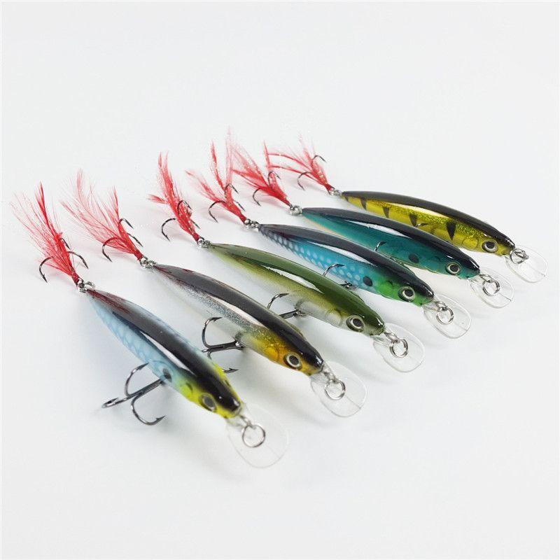 New Strike Crankbaits fishing hooks with feather 11cm 14g ABS Plastic saltwater Crankbait Lures wobbler jerk Bait