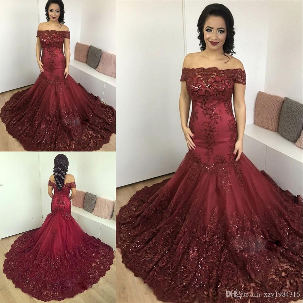 8949243ddd5 Middle East Sparkly Evening Dress Glamorous Off Shoulder Lace Applique Evening  Gowns Prom Dress Gorgeous Mermaid Red Carpet Dress Elegant Evening Gowns ...