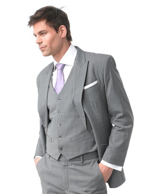 Slim Fit Groomsmen Suits Gray Wedding Suits For Men Peaked Lapel ...