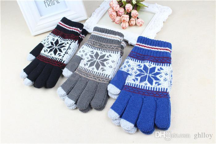 Gants d'hiver à écran tactile pour smartphone et tablette PC avec gants pour flocon de neige à cinq doigts