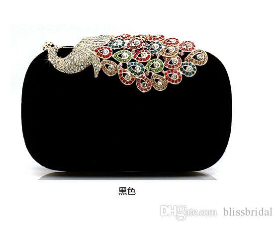 Pfau-Kristall, der Frauen-Handtaschen vier Farben vorhandene Minimode-Handtaschen bördelt, die Abend-Handtaschen Wedding sind Freies Verschiffen