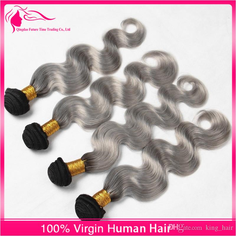 Hot Silver Grey Ombre Hair Extensions #1B/Grey Body Wave 9A Malaysian Virgin Human Hair Weaves Ombre Hair Bundles For Woman