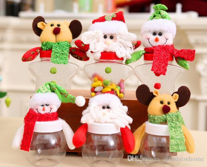 Little Plastic Christmas Sweet Candy Box Jar Roung Star Shape With Doll Santa Claus Snowman Deer Christmas Decoration
