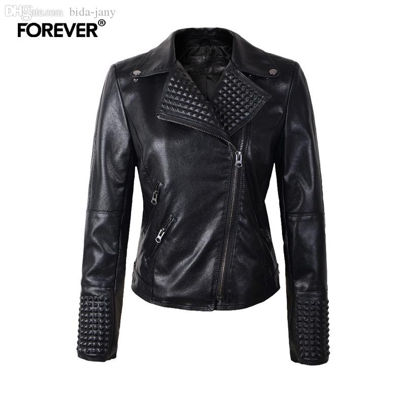 b13c7a98c Wholesale-2016 Women Leather Jackets Fashion Female Rivet Leather Jacket  Women Motorcycle Jacket Brand Coat Overcoat