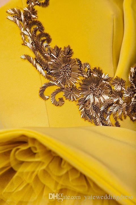 Azzi Osta حفلة موسيقية فساتين الأصفر حمالة ارتفاع منخفض فستان خاص تول الحرير emboridery مثير مساء العباءات سستة حزب اللباس appliqued