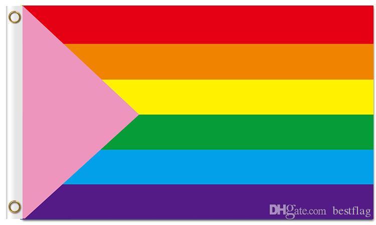 Heiße Verkauf Digital-Druck-homosexueller Stolz-Regenbogenflaggen fertigten Flaggen mit vier kundenspezifischen Dekorationfahnen der Metallösen 100D Polyester besonders an