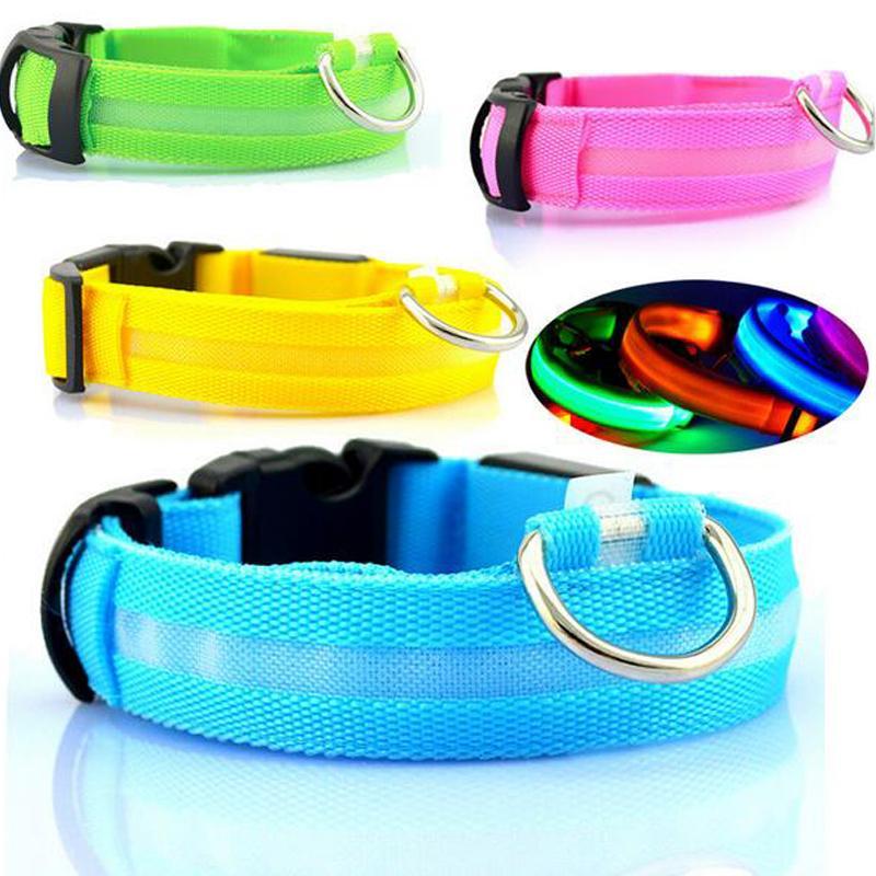 Nylon LED Collar para perros Luz de seguridad nocturna LED intermitente Resplandor Suministros para mascotas Collarines para gatos para mascotas Accesorios para perros Para perros pequeños Collar LED