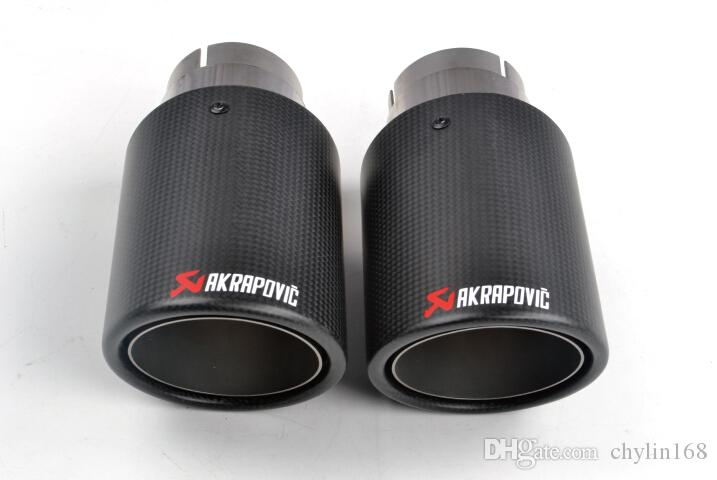 1 쌍 ID : 63mm OD : 101mm Akrapovic 탄소 섬유 머플러 배기 파이프 팁 아우디