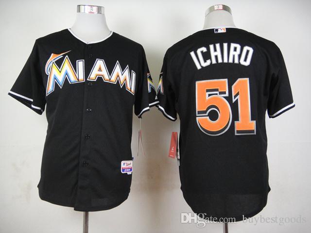 Miami Marlins Jerseys  51 Ichiro Suzuki Black Jersey Wholesale Cheap  Baseball Authentic Jerseys Stitched Baseball Cool Base Jersey UK 2019 From  Buybestgoods ... ac59aa85f