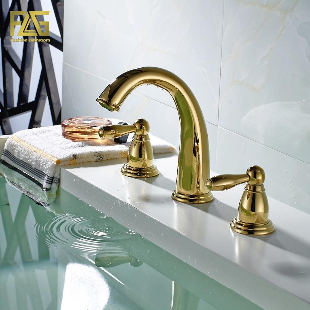 Online Cheap Nordic Style Basin Faucet Golden Plate 3 Hole Bathroom ...