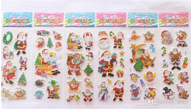 2015 الساخن بيع عيد 3d الكرتون ملصقا سانتا كلوز ملصقات الحائط شجرة عيد الميلاد ثلج هدية المقرب رياض الأطفال مكافأة للأطفال