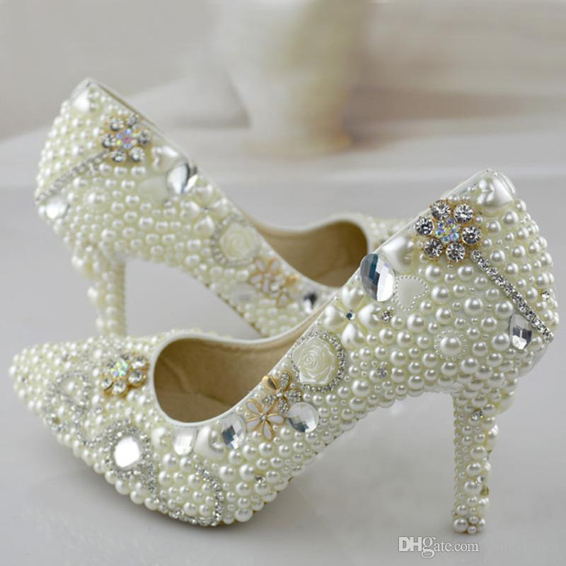 7a78d3ad7c9 Pointed Toe Pearl Wedding Shoes 3 Inches High Heel Bridal Dress Shoes Ivory  Color Women Party Shoes For Wedding Prom Pumps Bridal Ballet Shoes Bridal  Ivory ...