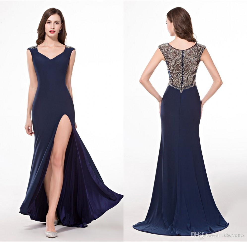 Side Slit Spandex Evening Dresses Luxury Floor Length Custom Made