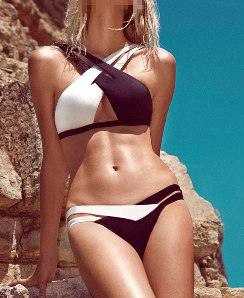 592c9e5fd0 2019 2017 Newest Sexy Swimwear For Women Criss Cross Chest Halter Straps  Black White Patchwork Bohemian Bikini Bathing Suit Beachwear 033 From  Yangze