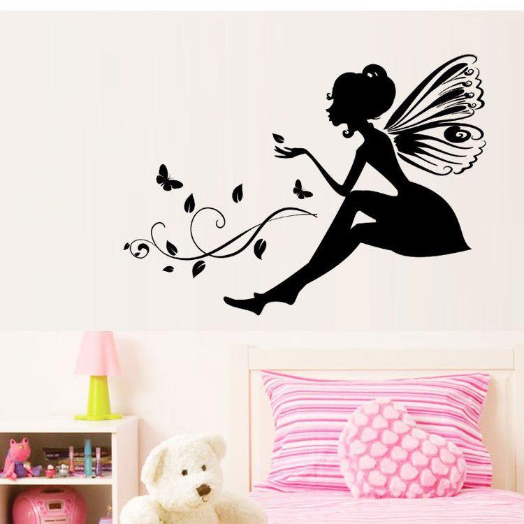 Compre flor de hadas etiquetas engomadas de la pared de - Dibujos para habitacion nina ...