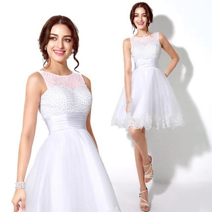 Short White Homecoming Dress Beaded Knee Length Teen Prom ...