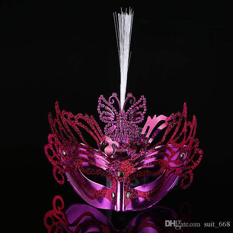 The new fiber-optic light-emitting light-emitting rain Colorful butterfly masquerade mask princess mask