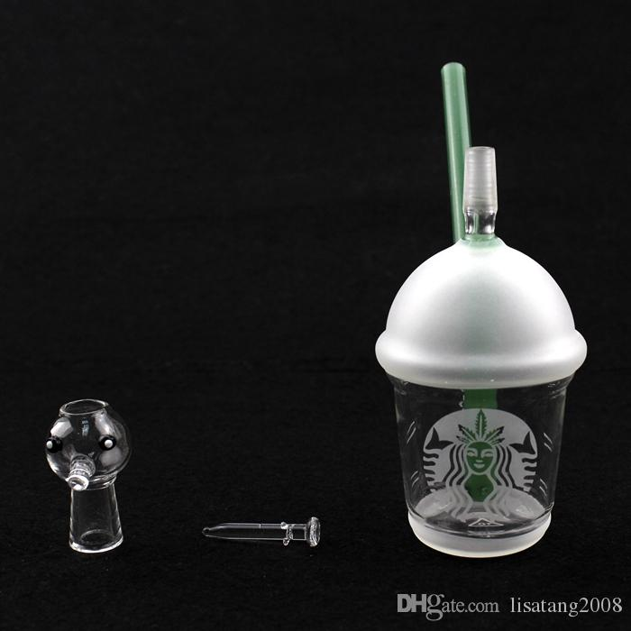 / Starbucks Cup glass bongs sandblasted glass pipes for smoking oil rigs glass water bongs and nail hookah