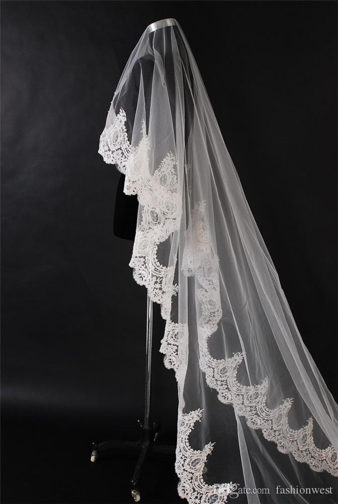 Wedding Bridal Veil White Ivory 2T Wedding Bridal Veil Satin Edge With Comb Elbow Elegant Cathedral