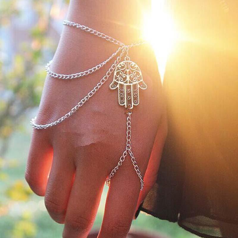 Hot Bracelets Asymmetric Men Women Hamsa Fatima Bracelet Finger Ring Slave Chain Hand Harness Fashion Jewellery Link Chain Charm Bracelets