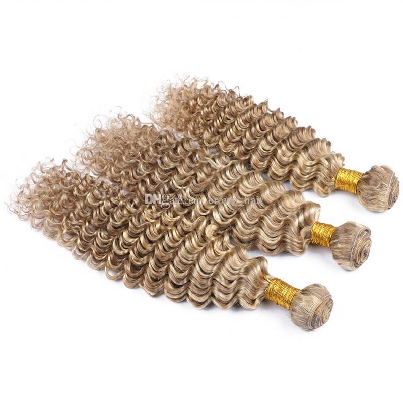 Popular Deep Wave # 8 613 Piano Color profundo rizado cabello humano 3 Bundles Ash Brown Mix con cabello rubio Virgen teje Extensiones