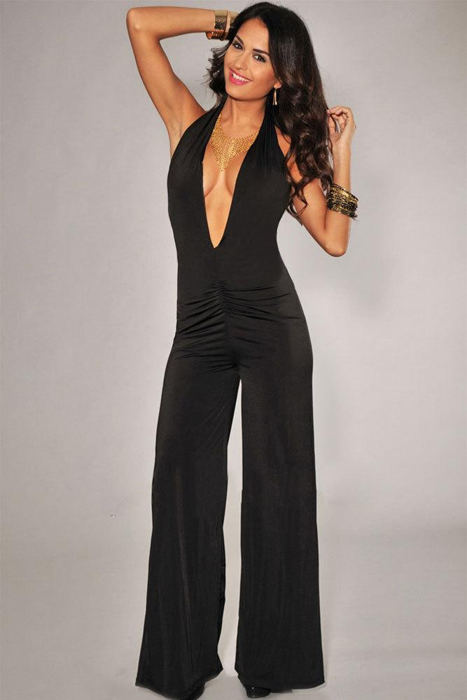 db22d5c4caaf Jumpsuits Party Elegant Black Plunging Neckline Jumpsuit with Wide ...