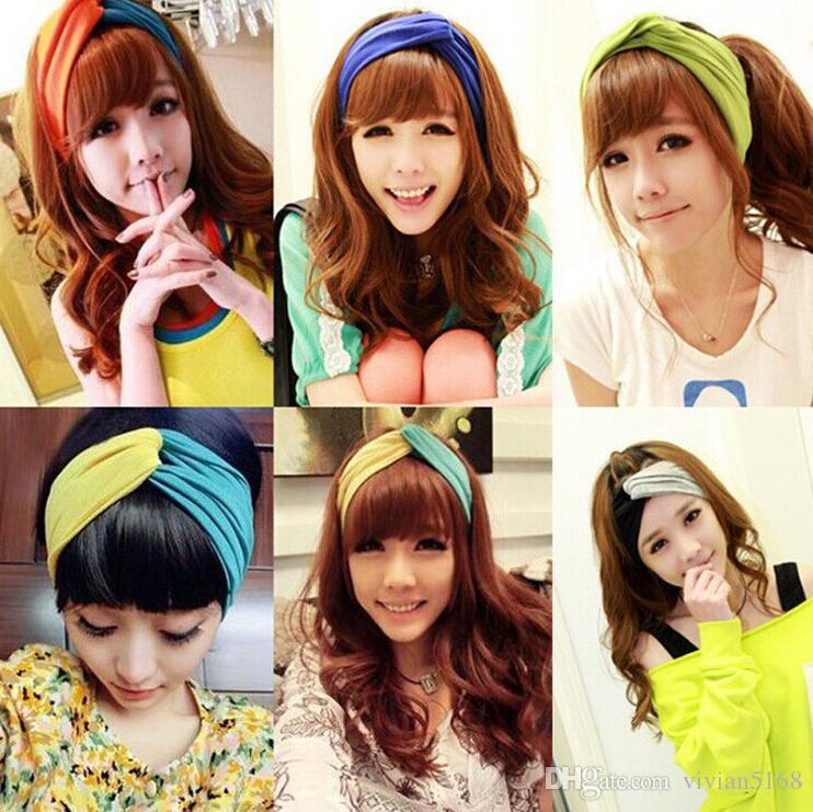 Moda Şeker Renk Kadın Streç Büküm Sarık Yumuşak Spor Yoga Kafa Şal Bandana Şapkalar Bohemya tarzı Saç Aksesuarları saç Bandı