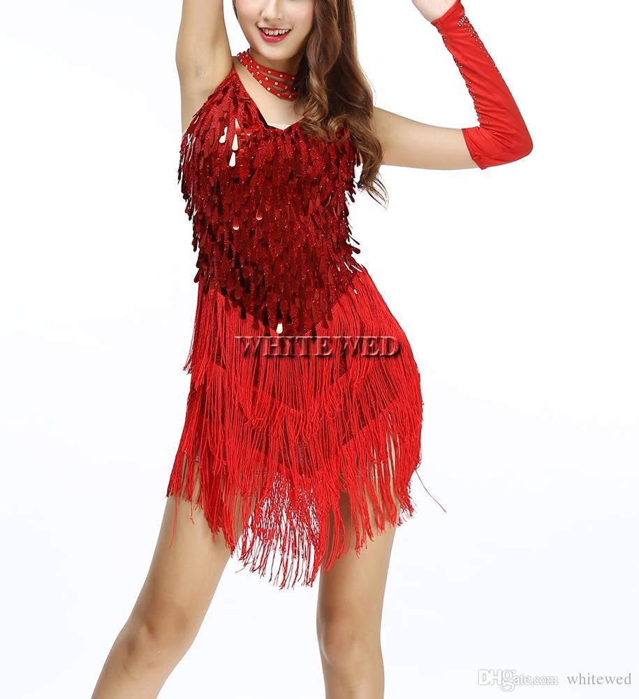 c68876daaa7 Compre Tassel Lantejoula Roaring 20 S 1920s Gatsby Menina Senhoras Flapper  Traje De Dança Vestido Feminino Para O Grande Gatsby Parte Gota De Água  Malha V ...