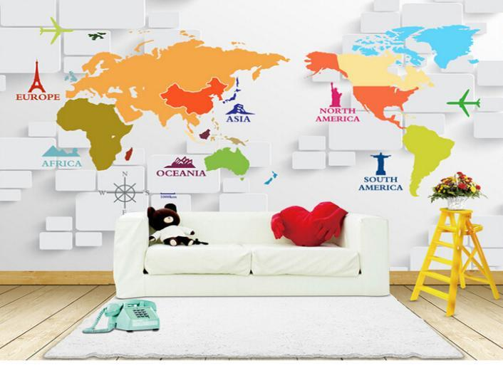 3d Map Of The World Wallpaper MuralsWall Paper For Living Room