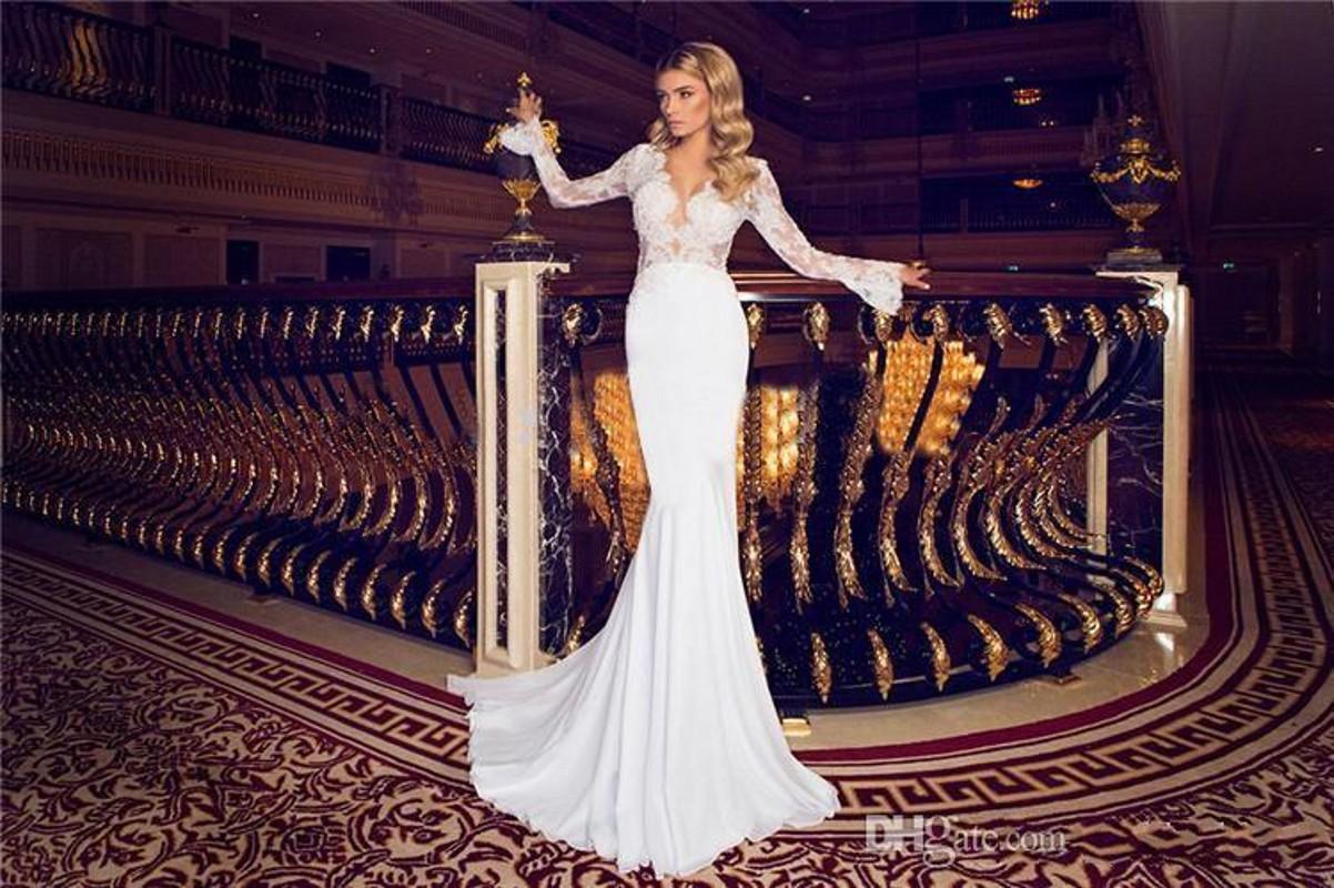 Mermaid Chiffon Beach Wedding Dresses 2019 New Sexy V-Neck Long Sleeves Elegant Lace Wedding Bridal Gowns Sweep Train Hot Sale 468