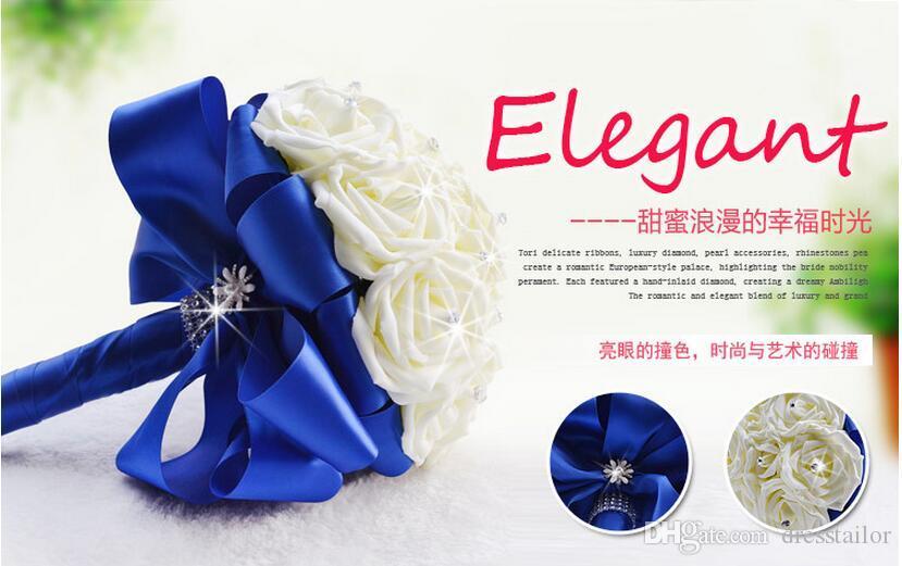New Arrival Romantic Wedding Bouquet Bridal Bridesmaid Flower White Bouquet With Crystal Bride Holding Rose Buque De Noiva C49