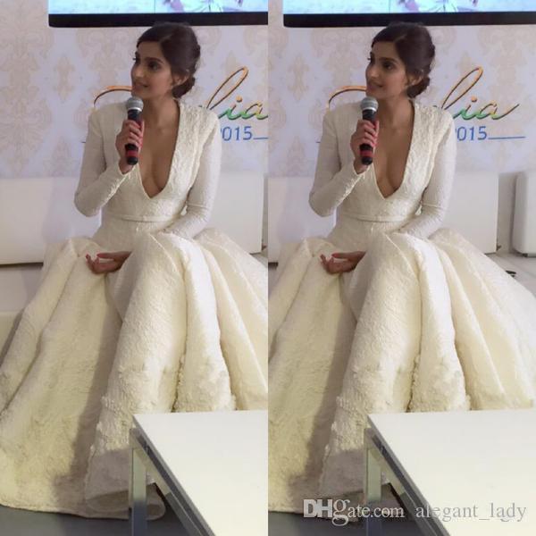 Ashi studio abend prom kleider reine weiße heiße sale long sleeve tiefer v ausschnitt spitze perlen appliziert tee laser angreifern